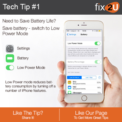 iPhone Tech Tip #1 - How to switch to low power mode on your iPhone. Brought to by fix2U - Australia Largest On-site Device Repair Service. iPhone Repair That Comes To You.