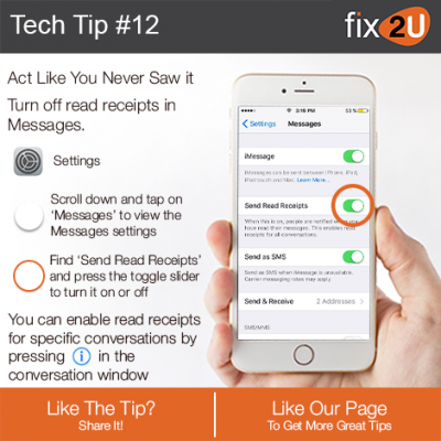 iPhone Tech Tip #12 - Turn off read receipts. Brought to by fix2U - Australia Largest On-site Device Repair Service. iPhone Repair That Comes To You.