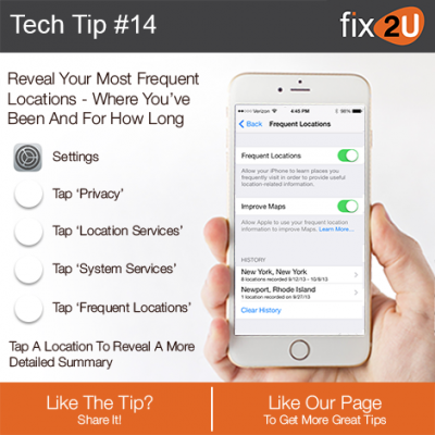 iPhone Tech Tip #14 - Reveal your most visited locations. Brought to by fix2U - Australia Largest On-site Device Repair Service. iPhone Repair That Comes To You.