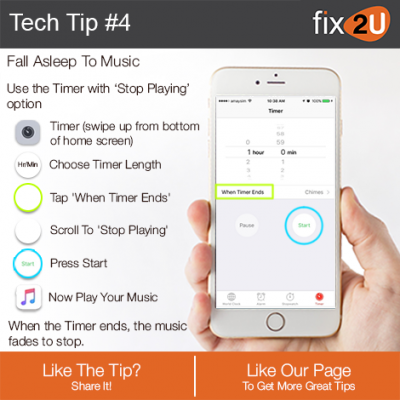 iPhone Tech Tip #4 - Fall asleep to music. Brought to by fix2U - Australia Largest On-site Device Repair Service. iPhone Repair That Comes To You.