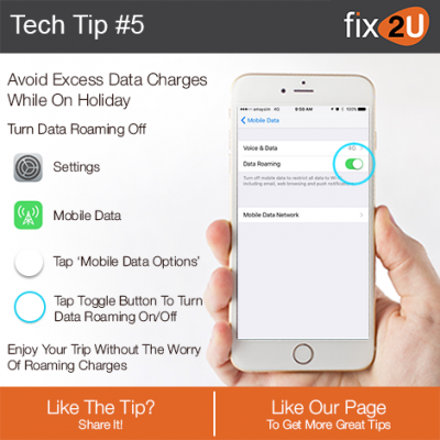 iPhone Tech Tip #5 - Avoid excess data charges. Brought to by fix2U - Australia Largest On-site Device Repair Service. iPhone Repair That Comes To You.