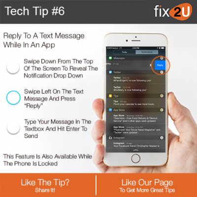 iPhone Tech Tip #6 - Reply to a text while you're in an app. Brought to by fix2U - Australia Largest On-site Device Repair Service. iPhone Repair That Comes To You.