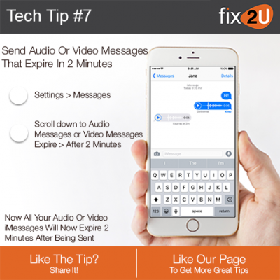 iPhone Tech Tip #7 - Send expiring messages. Brought to by fix2U - Australia Largest On-site Device Repair Service. iPhone Repair That Comes To You.